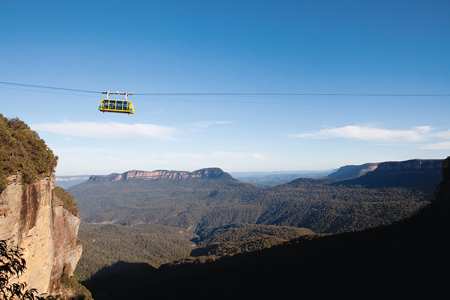 Attractions in the Blue Mountains - 50 kilometers west of downtown Sydney - include the Cableway, said to be the steepest and largest aerial cable car in the southern hemisphere.