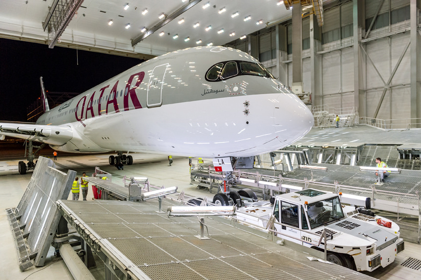 A freshly painted A350 in the Airbus factory in Toulouse, France.