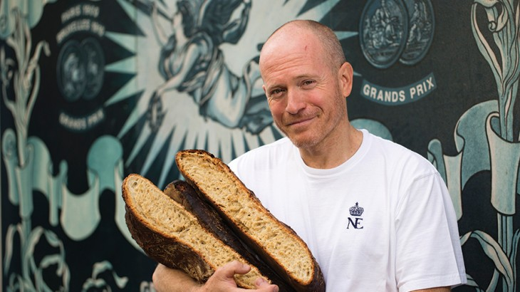 Du Pain et des Idees' Christophe Vasseur with loaves of his signature friendship bread.