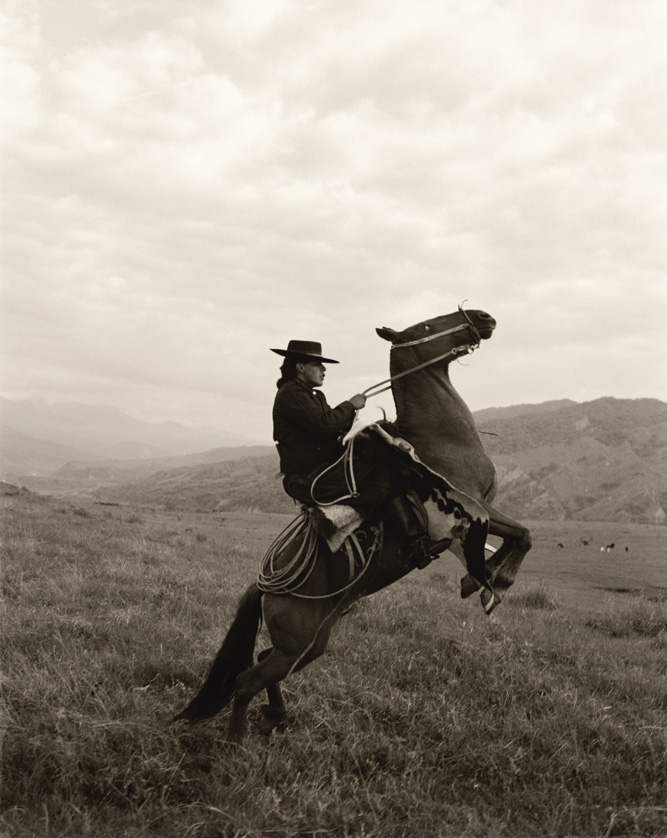 """A gaucho displaying some fancy horse work on the high-altitude ranges of Salta province, Argentina. """"The Indios cowboys had such great style,"""" says Menke of her 1998 visit. """"Thick ponchos, wide-brimmed hats, and loose-fitting pants called bombachas. It had always been a dream of mine to shoot them."""""""