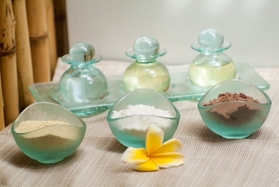 Natural, aromatic oils and scrubs are used in all treatments at the spa.