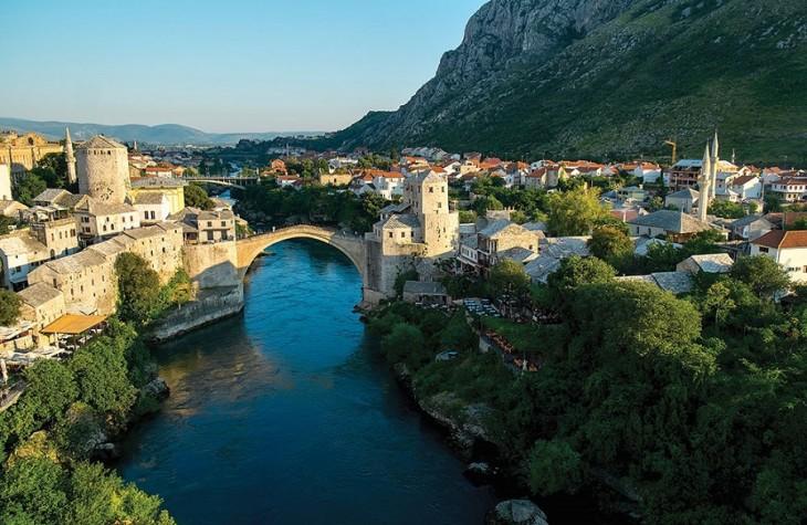 Overlooking Mostar's Neretva River and its Ottoman-style bridge.