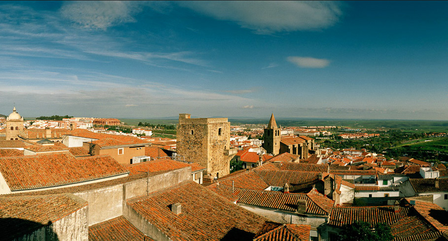 A view over the rooftops of the UNESCO-listed Old Town of Cáceres.