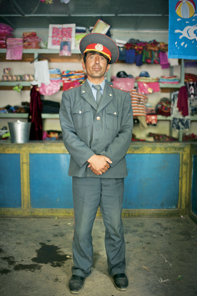 A policeman in Vrang, a village famed for its sixth-century Buddhist stupa.