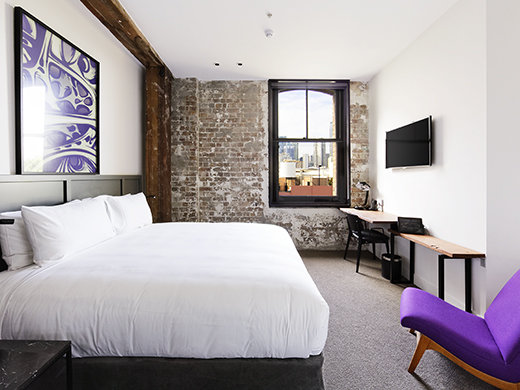 The rooms at the 1888 Hotel feature original work by Australian artists.