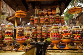 An array of fruits sit as an offering meant to appease Balinese spirits.