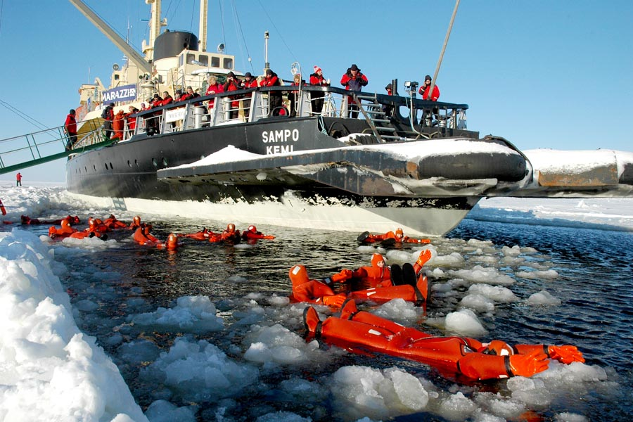 Visitors can put on survival suits and take a dip in the ice pack.