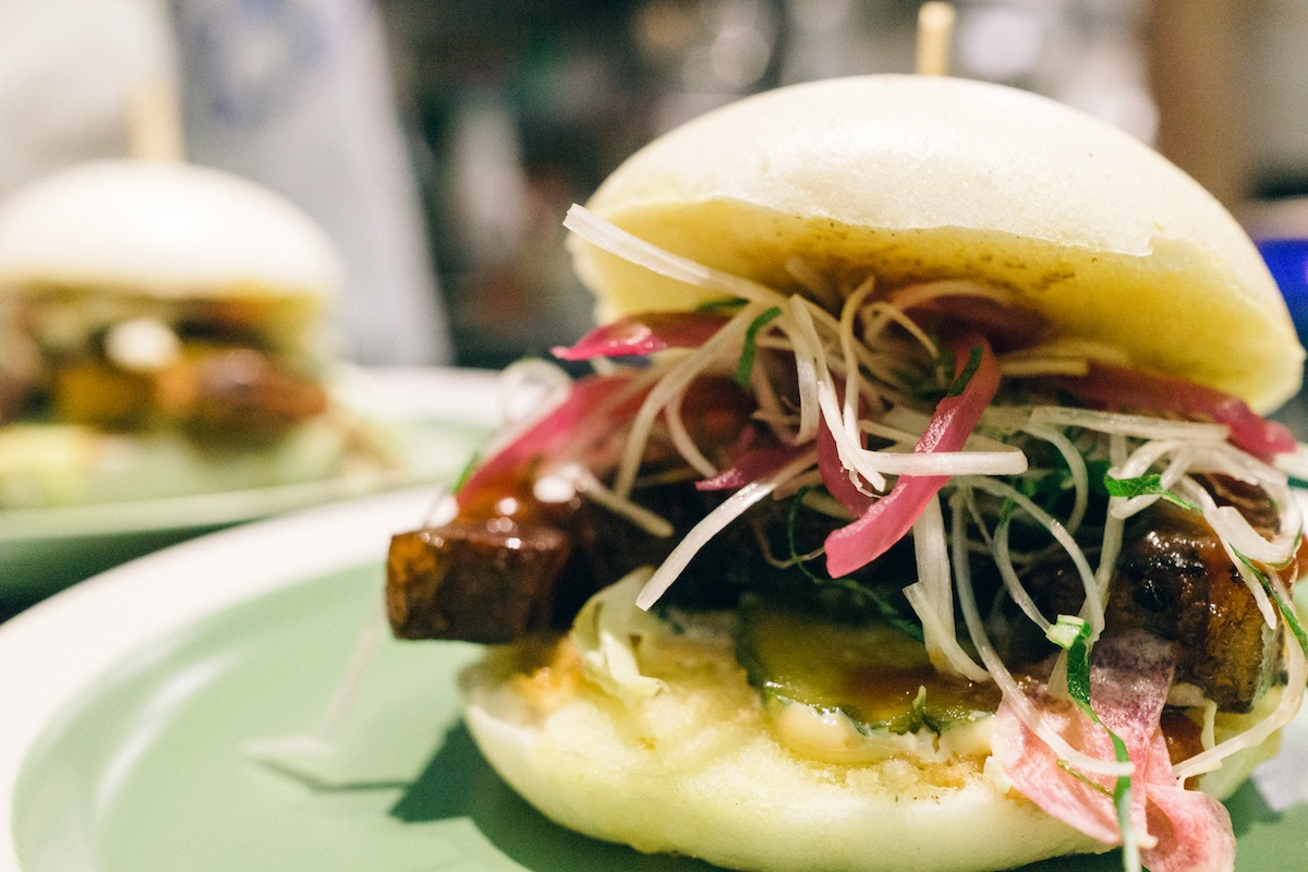 Braised pork belly offset by a light sesame salad between two perfect bao buns.