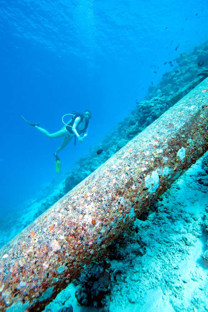 The Energy-Saving Deep-Sea  Pipeline at The Soneva Fushi Resort.