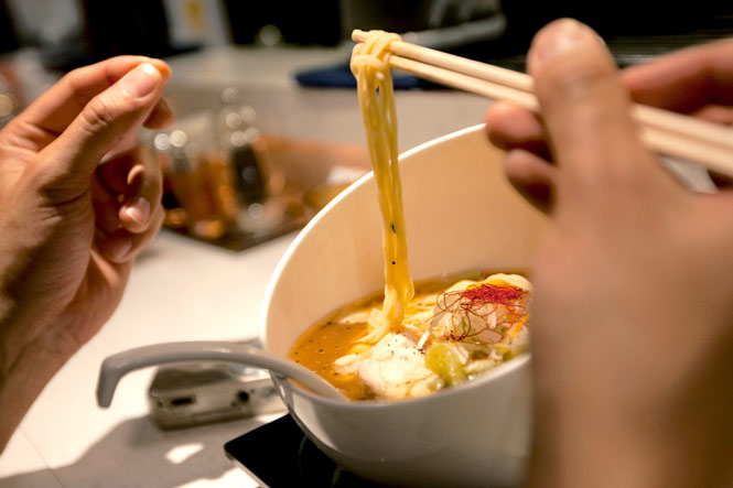 Nidaime Keisuke's ramen in shrimp broth