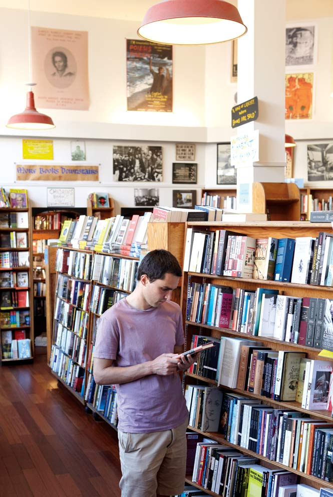 Browsing the bookshelves at City Lights.
