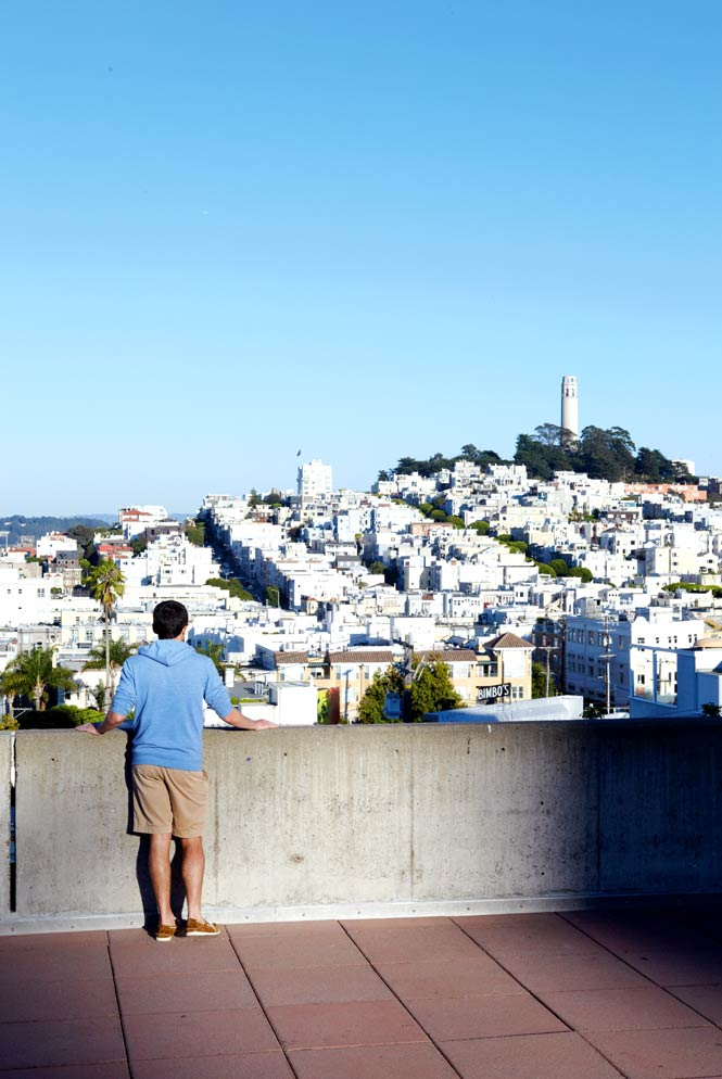 Looking across to Coit Tower, an Art Deco monument built in the 1930s atop Telegraph Hill  on the east side of San Francisco.