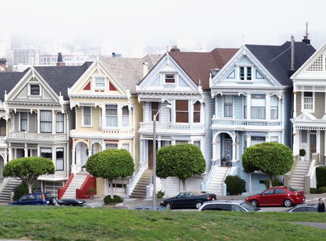 Victorian houses in Alamo Square.