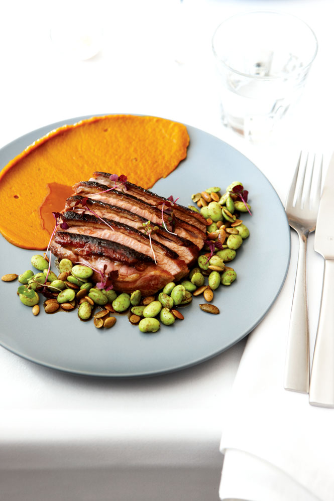 Glazed duck breast with edamame and pumpkin puree at Subo.