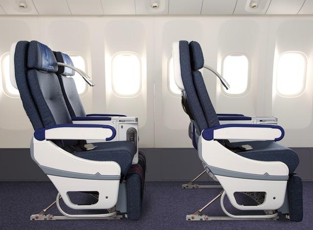 Premium-economy seats feature 97-centimeter pitches.