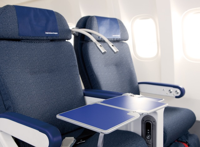Premium-economy seats feature a 49-centimeter width.
