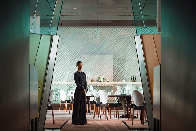 Inside The Peninsula Hong Kong's Philippe Starck−designed Felix restaurant.