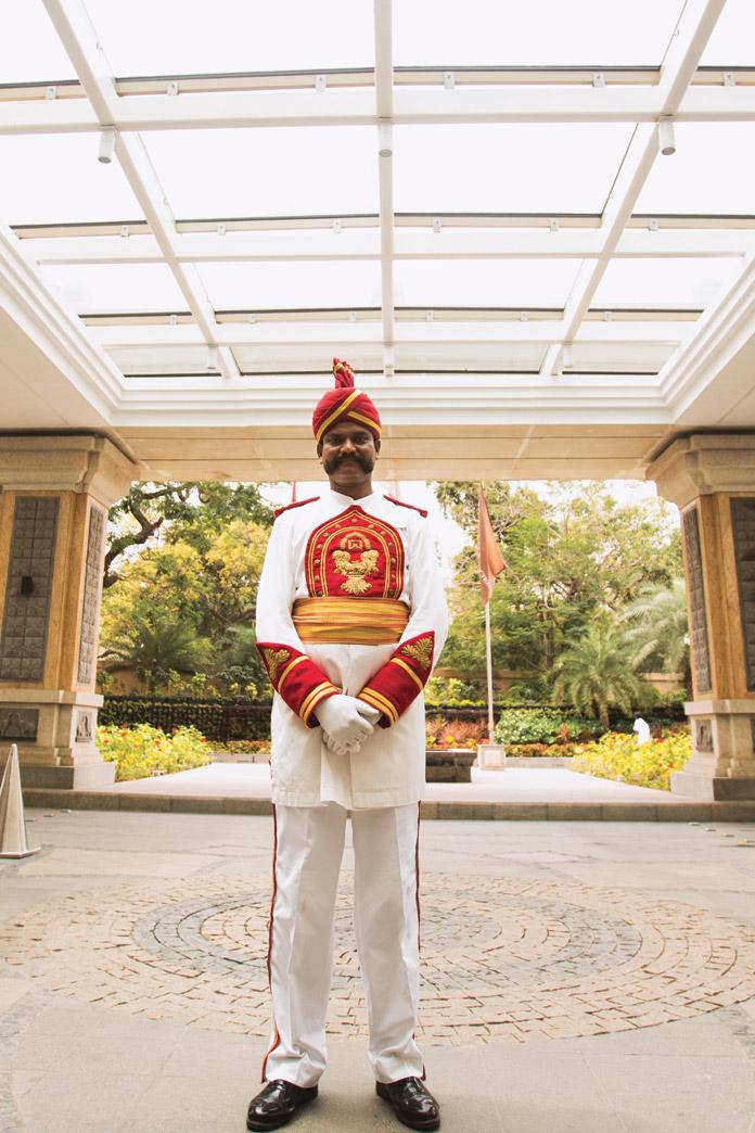 A doorman at the ITC Grand Chola.