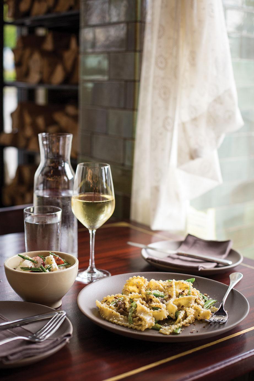 Pasta with lamb ragu and snap peas at Ava Gene's.