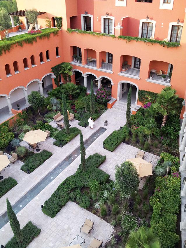 Rosewood San Miguel de Allende's rear courtyard.