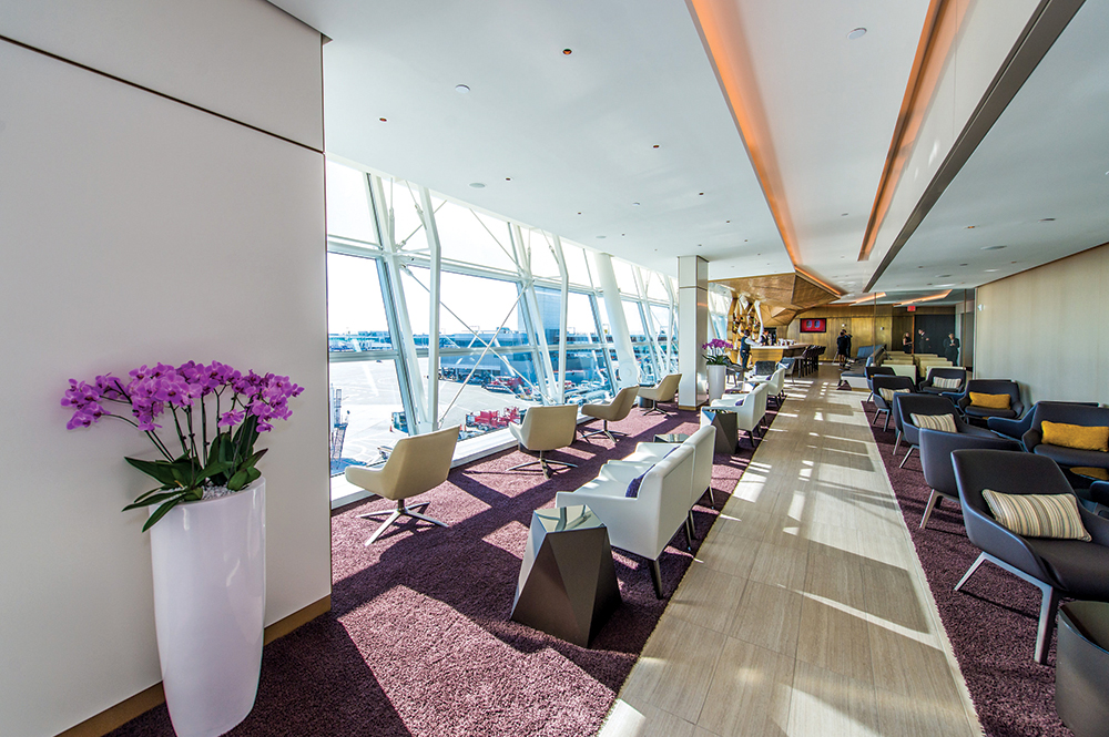 The new premium lounge has floor-to-ceiling windows and Boss furnishings.