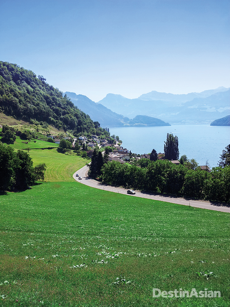 The Grand Tour takes in the shores of Lake Lucerne, pictured here at the foot of Mount Rigi near Weggis.
