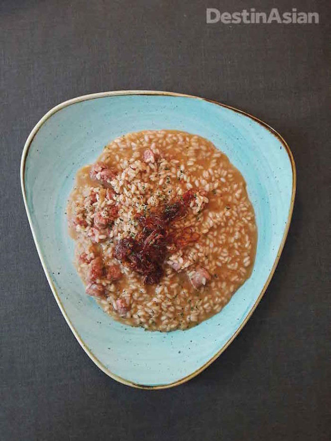 Deer-sausage risotto with caramelized red onions at Salotto Brè. Photos by Christopher P. Hill.