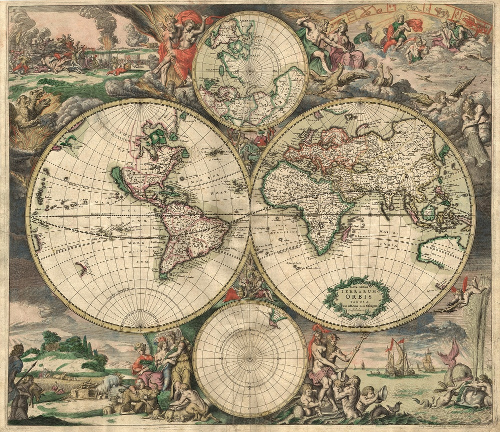 World Map, 1689, Gerard van Schagen Hand-coloured engraving, 48.3 × 56 cm / 19 × 22 in., Amsterdam University Library, Amsterdam