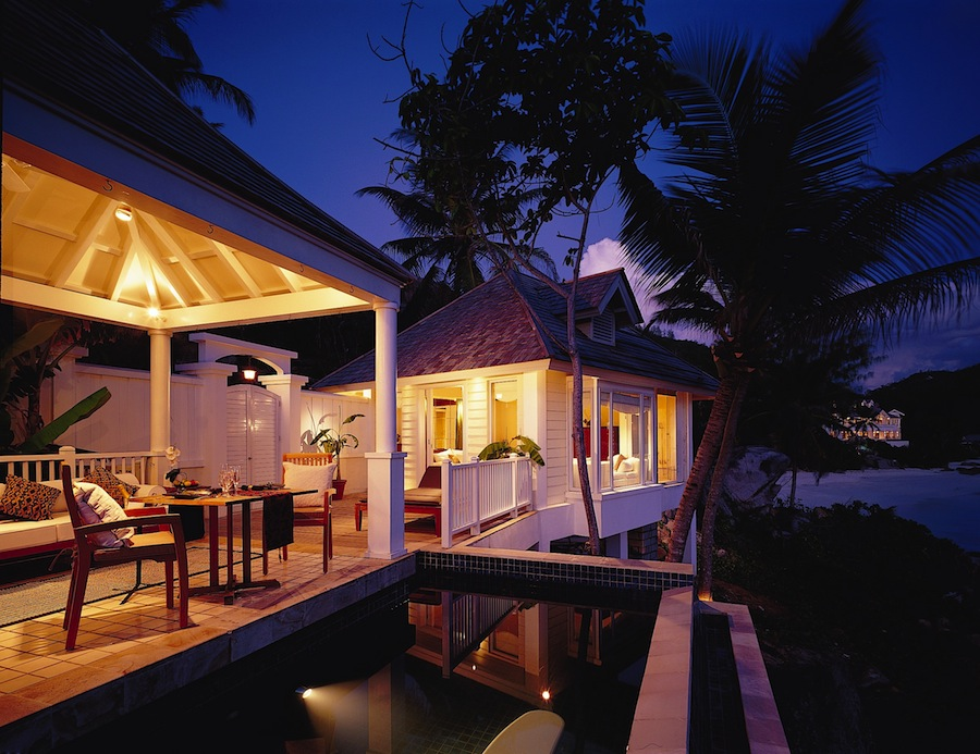 A hillside pool villa at the Banyan Tree Seychelles.