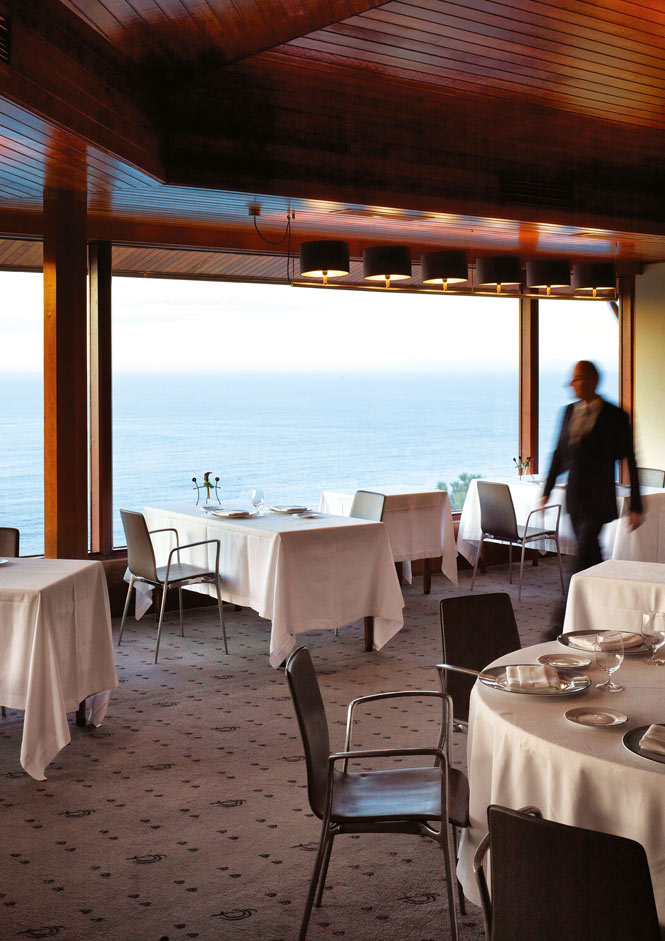 The dining room at Akelarre, a three-star restaurant overlooking the Bay of Biscay.