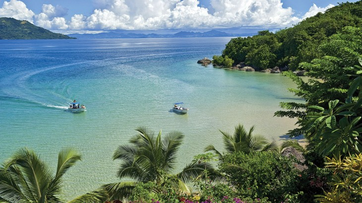 A short speedboat ride from Nosy Be, Tsara Komba Lodge fronts a picture-perfect cove.