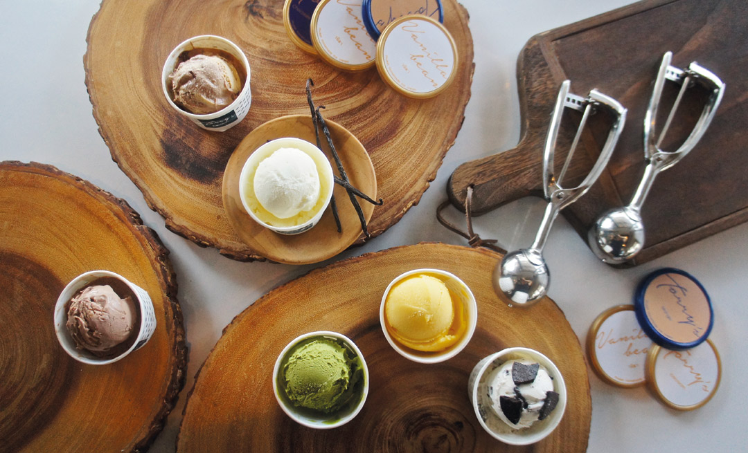 The flavors at Torry's Ice Cream range from traditional favorites to Thai-inspired creations like mango sticky rice.