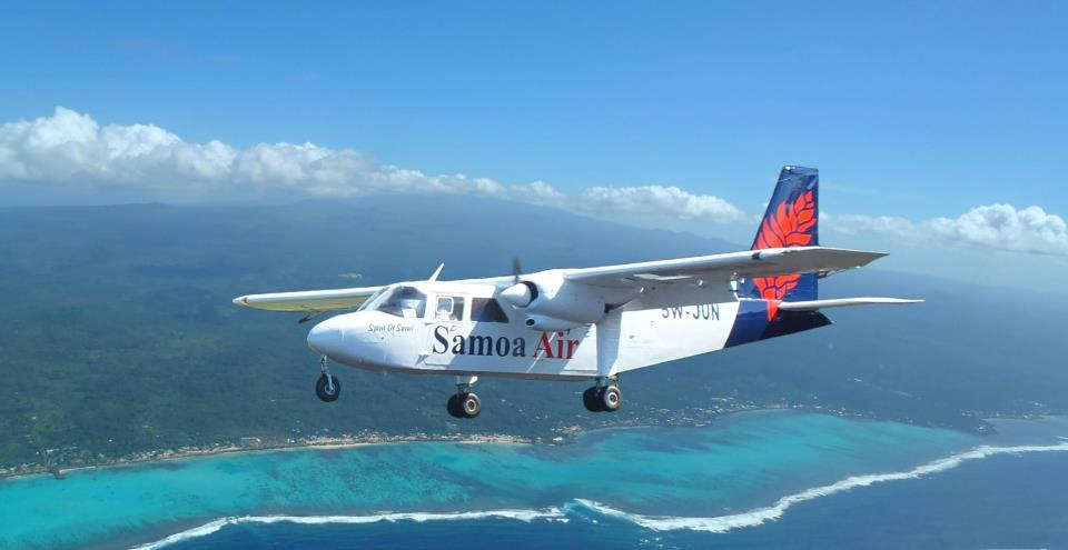 Flying past the coast of Savaii.