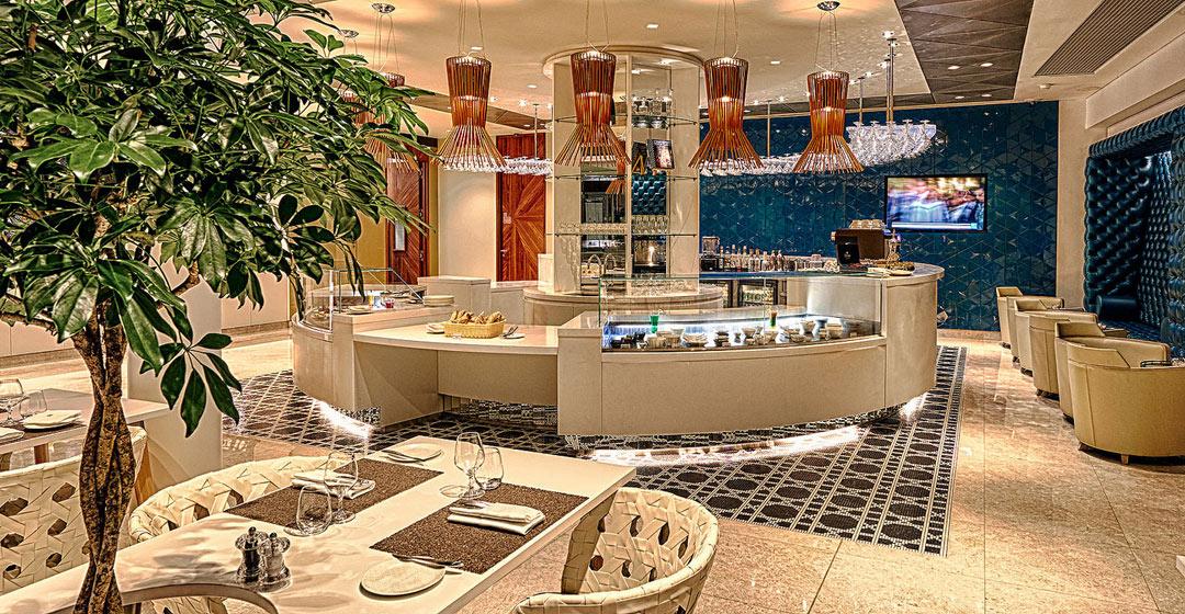 Inside the new Qatar Airways Premium Lounge at Paris-Charles de Gaulle Airport.