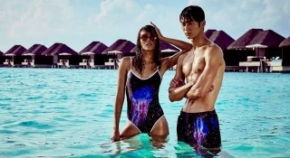 Australia's Next Top Model winner Amanda Ware and up-and-coming Korean model Byeon Woo Seok at the capsule collection photoshoot at W Retreat & Spa Maldives.