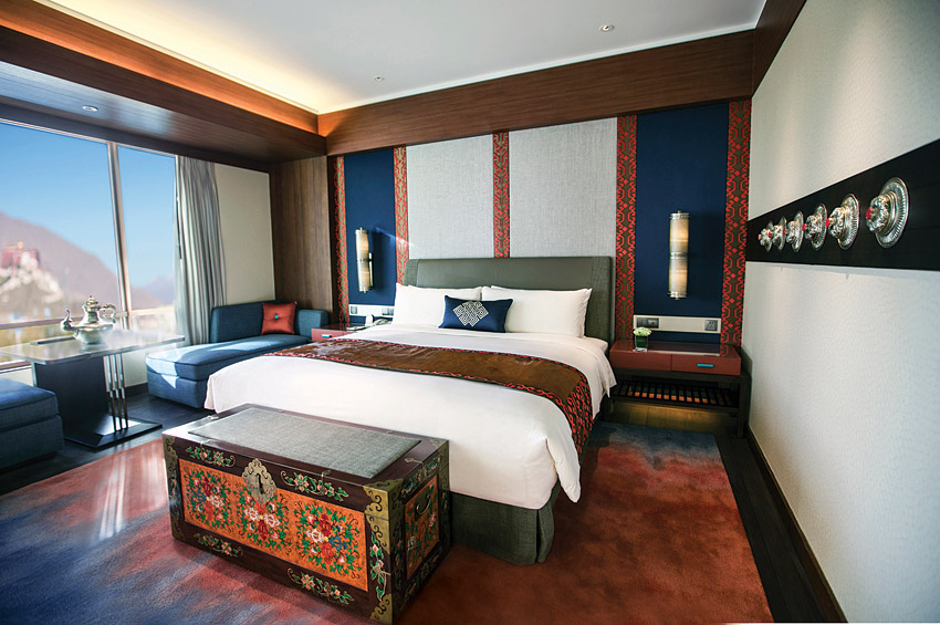 A guest room at the new Shangri-La Hotel, Lhasa.