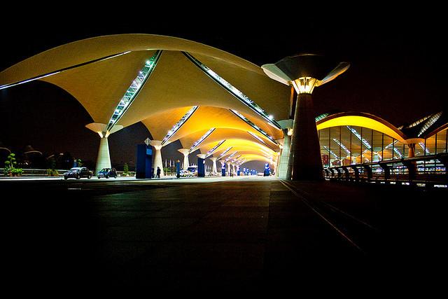 Kuala Lumpur International Airport at night.
