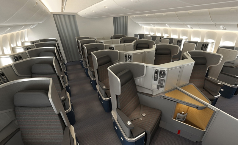 The business-class cabin of an American Airlines' 777-300ER.