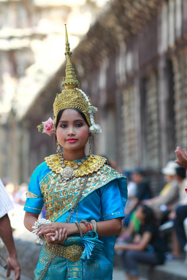 A woman in traditional Khmer garb.