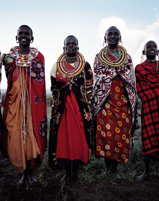 Masai warriors posing for a shot outside Nairobi.