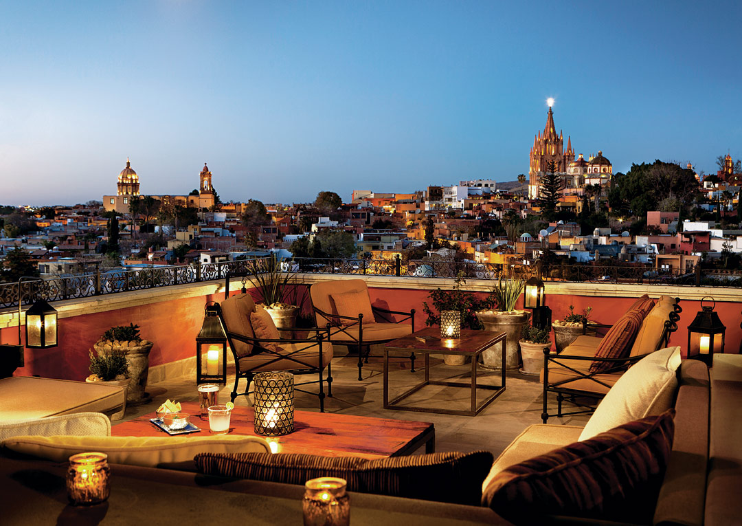 Views of the La Parroquia church from the rooftop at the Rosewood San Miguel de Allende.