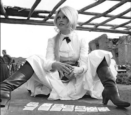 Bardot relaxing on the set of Shalako.