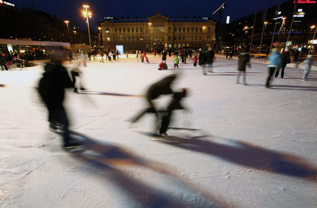 Ice skating in the heart of Helsinki.