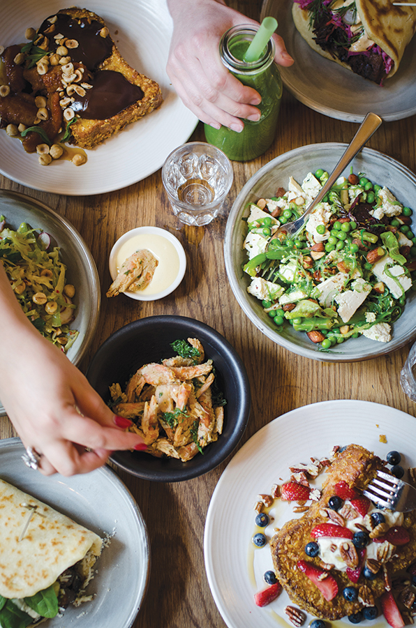 The brunch spread at Three Williams, a cafe in the inner-city Sydney suburb of Redfern.