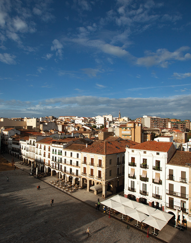 Overlooking Plaza Mayor, the main square in the Old Town of Cáceres.