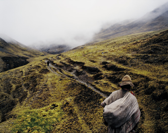 Negotiating a mountain track in the southern highlands of Peru.