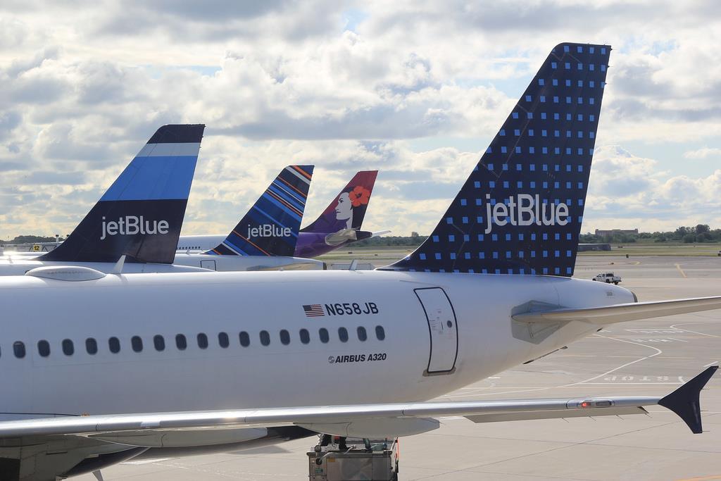 The JetBlue fleet at JFK Airport.
