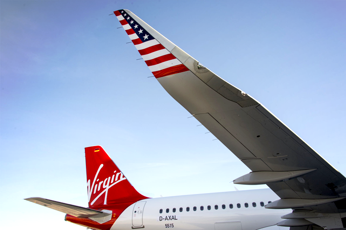 The patriotic wings of Virgin America.