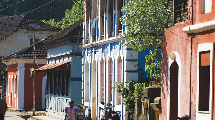 Colonial-era Villas Line in Panaji's Fontainhas Quarter