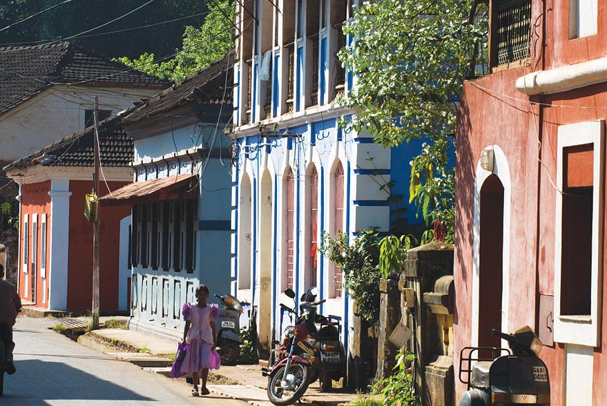 Colonial-era villas line a street in Panaji's Fontainhas quarter.